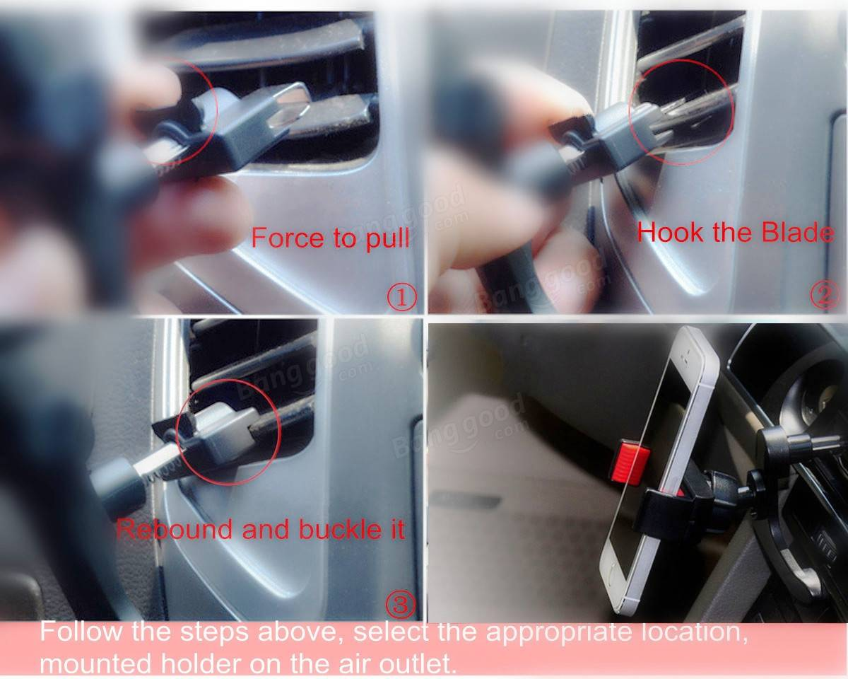 360° Rotatable Anti-slip Adjustable Car Air Conditioner Vent Mount Holder For Smart Phone