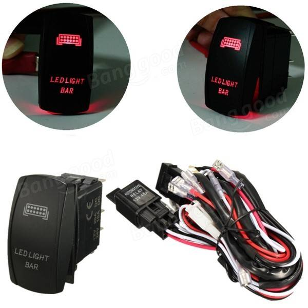 12V LED Light Bar Laser Rocker On/Off Switch Wiring Harness 40A Relay Fuse Red