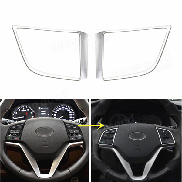 Silver Chrome Steering Wheel Panel Cover Insert Trim Decoration For 2016 New Tucson