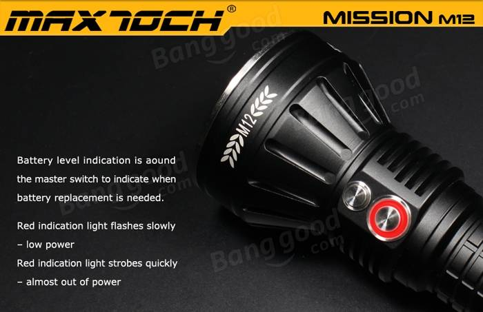 MAXTOCH Mission M12 XP-L HI 1000LM 850Meters Searching LED Flashlight 26650