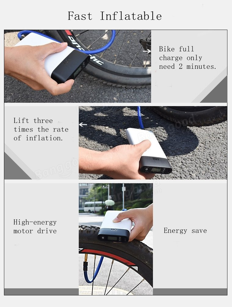 2in1 Automatic Smart Inflator Pump Electric High Pressure Pump Tire Pressure Table For Bike Motorcycle Football Basketball