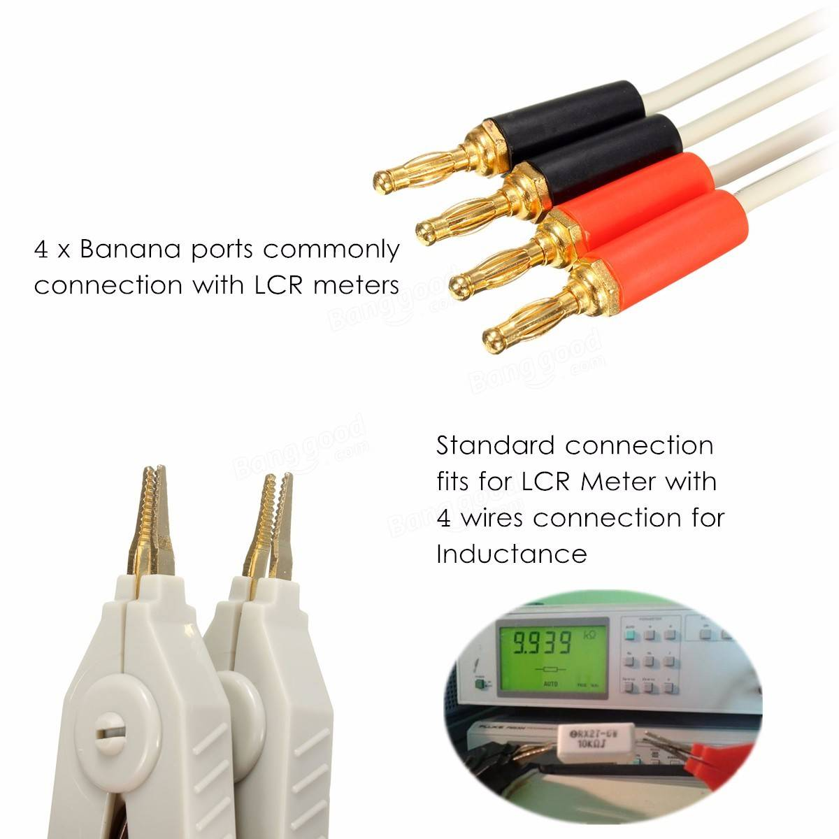 Lcr Meter Resistance : Lcr meter low resistance leads banana plug clip cable for