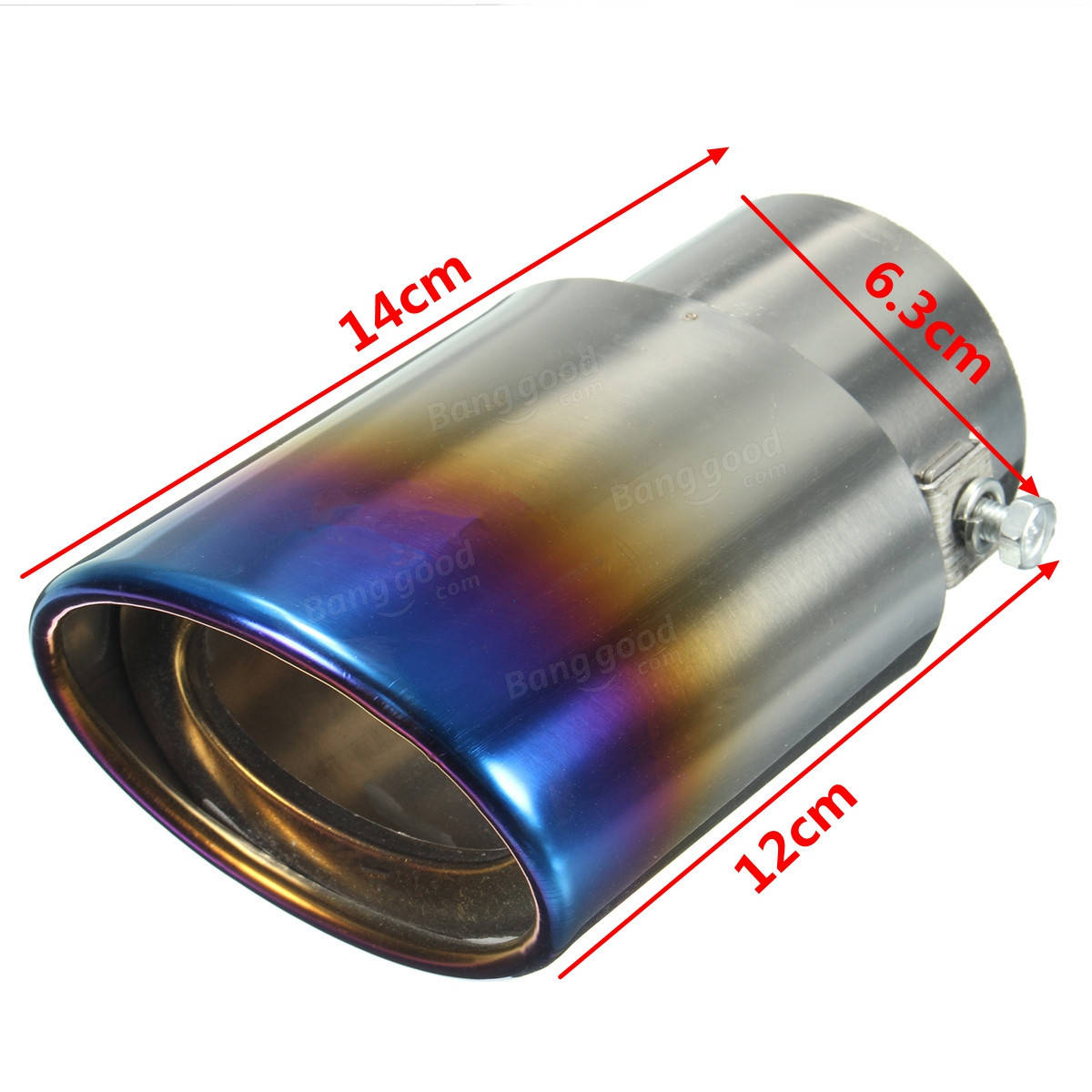 2.5 Grilled Blue Chrome Stainless Steel Exhaust Muffler Tip Pipe Universal