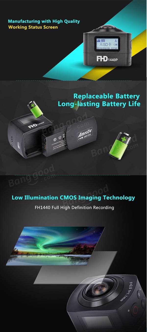 AMKOV AMK100S 360 Degree Sport Action Camera 1440P 8MP WiFi Black without Waterproof Case