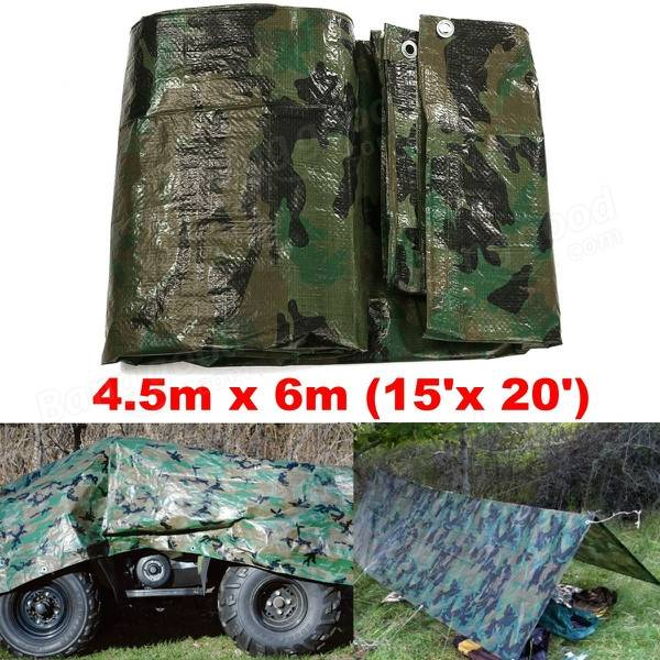 80gsm Camo Waterproof Car Cover Tarpaulin Ground Sheet Lightweight Camping Cover Tarp