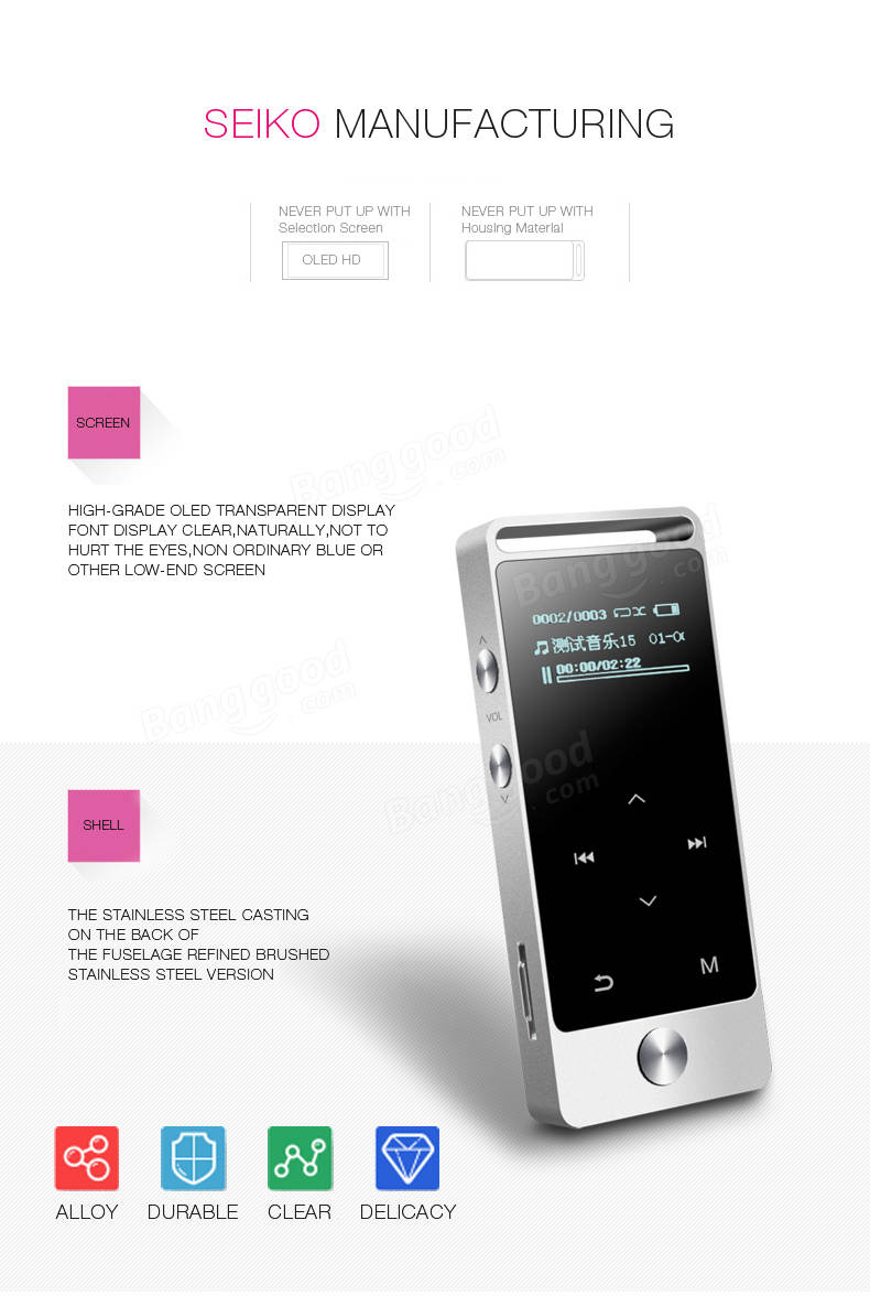 Mp3: BENJIE S5 Metal HiFi Lossless 8GB OLED Touch Screen Mini