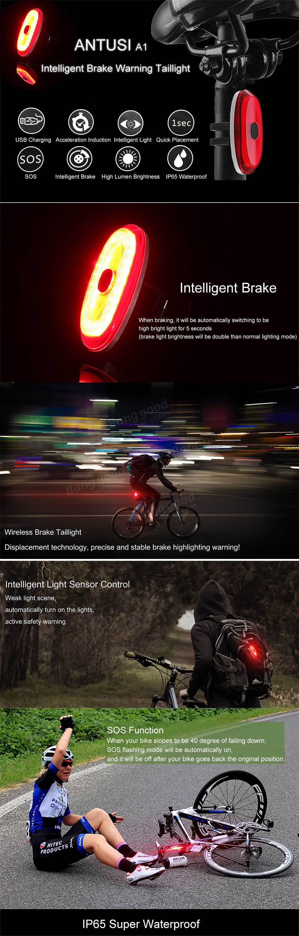 2Pcs ANTUSI A1 IP65 Intelligent Brake Acceleration Induction SOS Mode 180° Floodlight Taillight 700mAh Lithium Battery USB Rechargeable