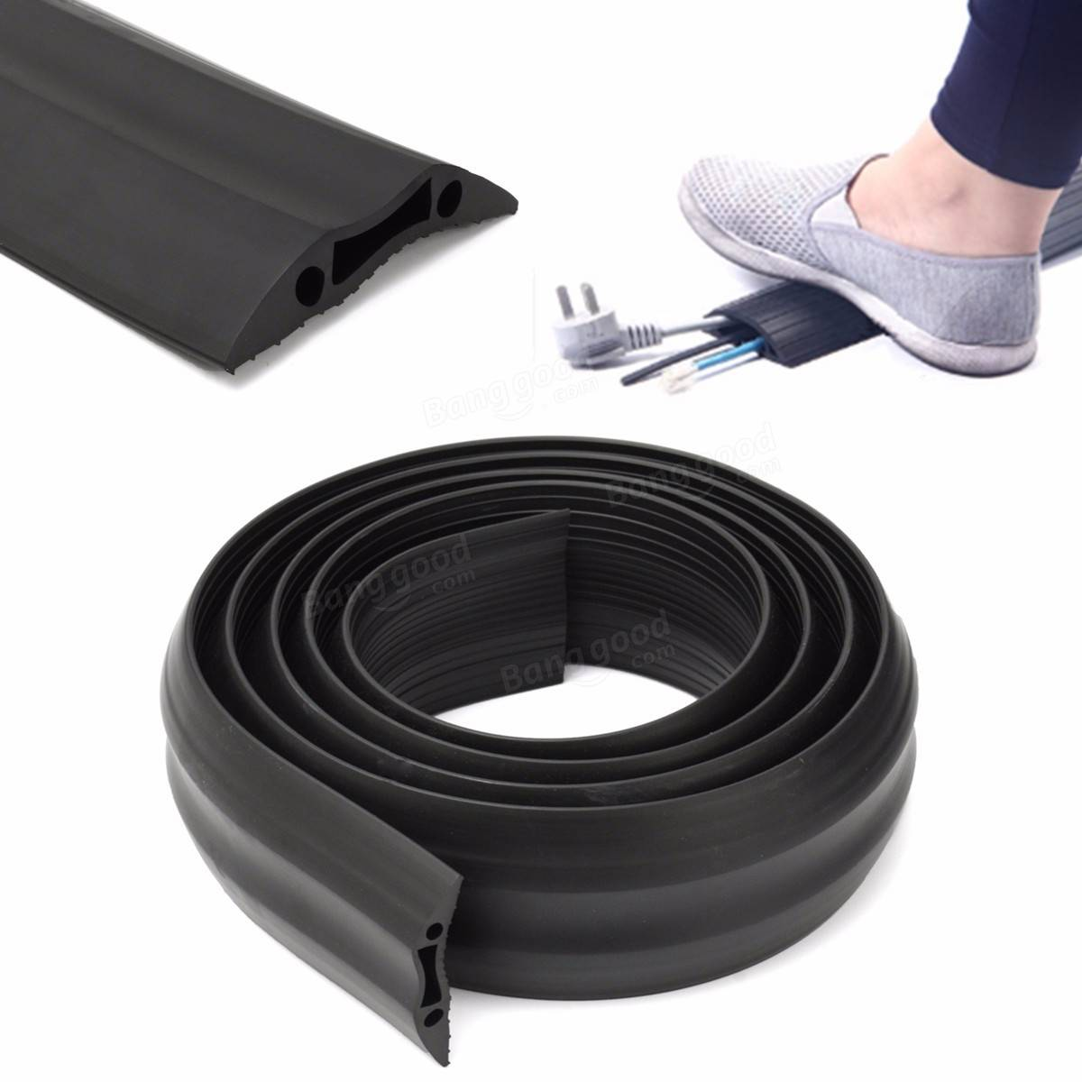 heavy duty rubber cable protector bumper tidy floor trunking cover sleeves 1m. Black Bedroom Furniture Sets. Home Design Ideas