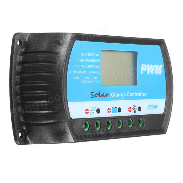 12V/24V 10A 20A 30A Battery Regulator Charger Solar Panel Controller With USB LCD PWM