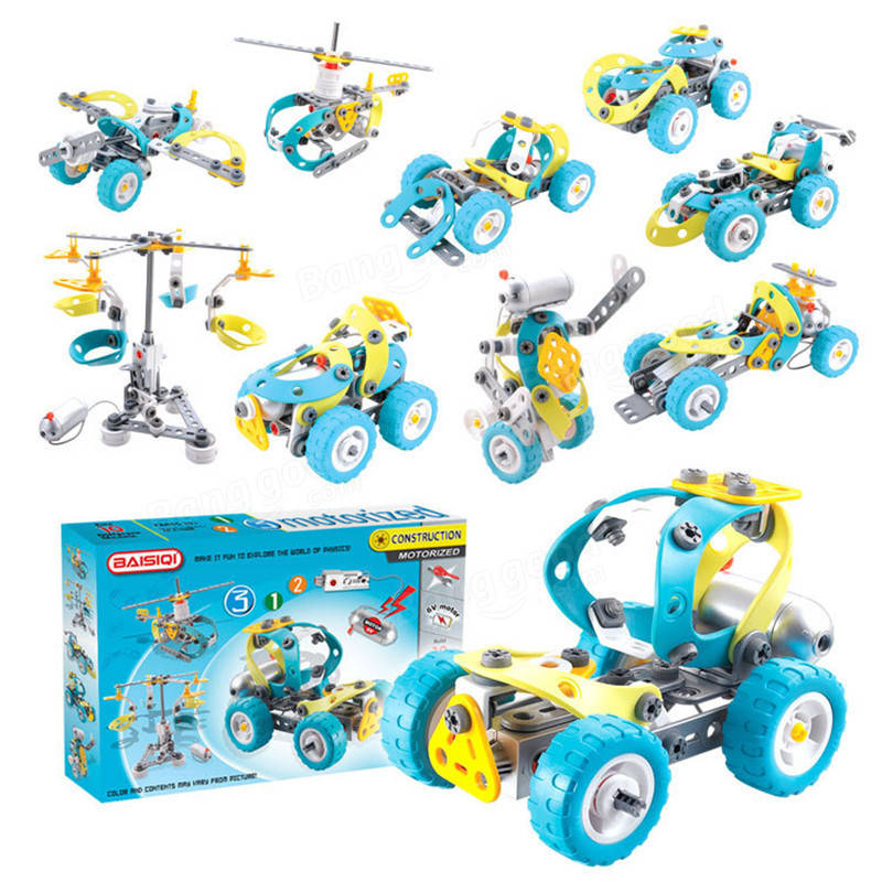 10 In 1 DIY Assembling Electric Car Model Building Blocks Puzzle Kids Children Educational Gift Toys