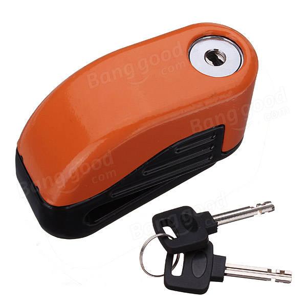 Motorcycle Bike Disc Brake Lock Security Anti Thief Alarm with Spring Reminder Cable