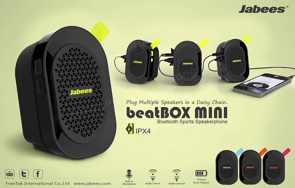 Jabees beatBOX MINI Bluetooth Sports Speaker Handsfree IPX4 Waterproof Wireless Portable Speaker