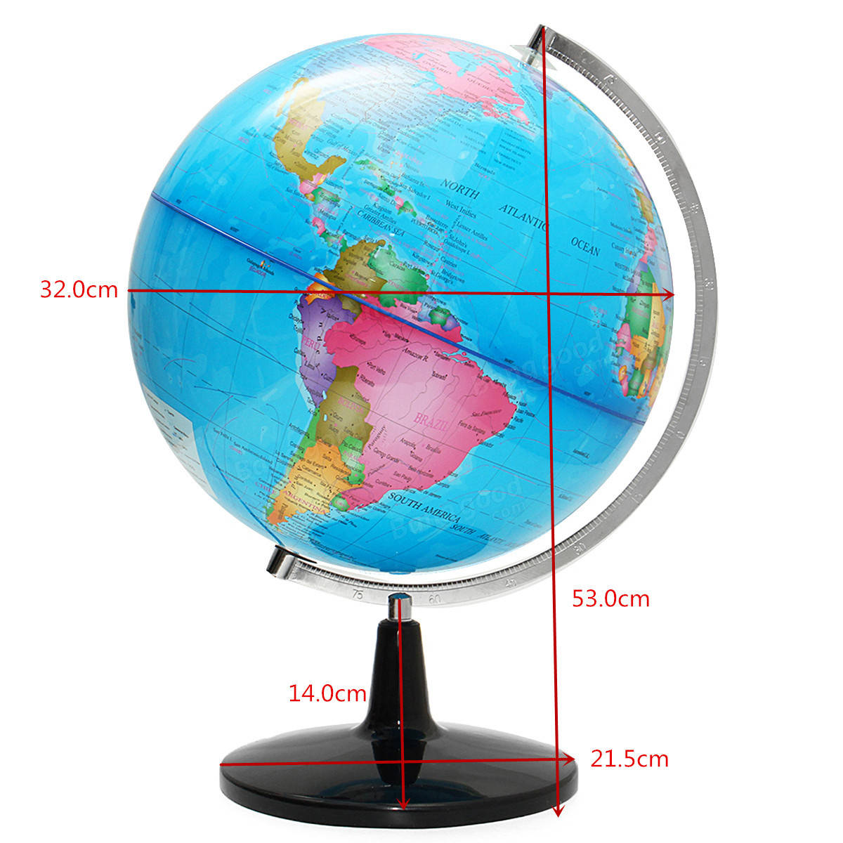 32cm Illuminated World Globe Geographic Terrestrial Tellurion Globe Electric LED Light