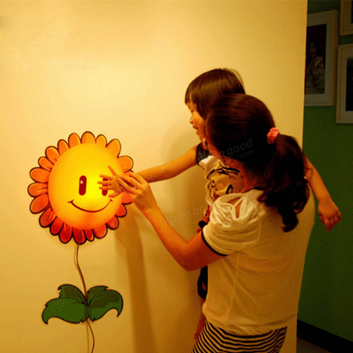 3D DIY Sunflower LED Wallpaper Light Wall Sticker Removable Lamp Kid Bedroom