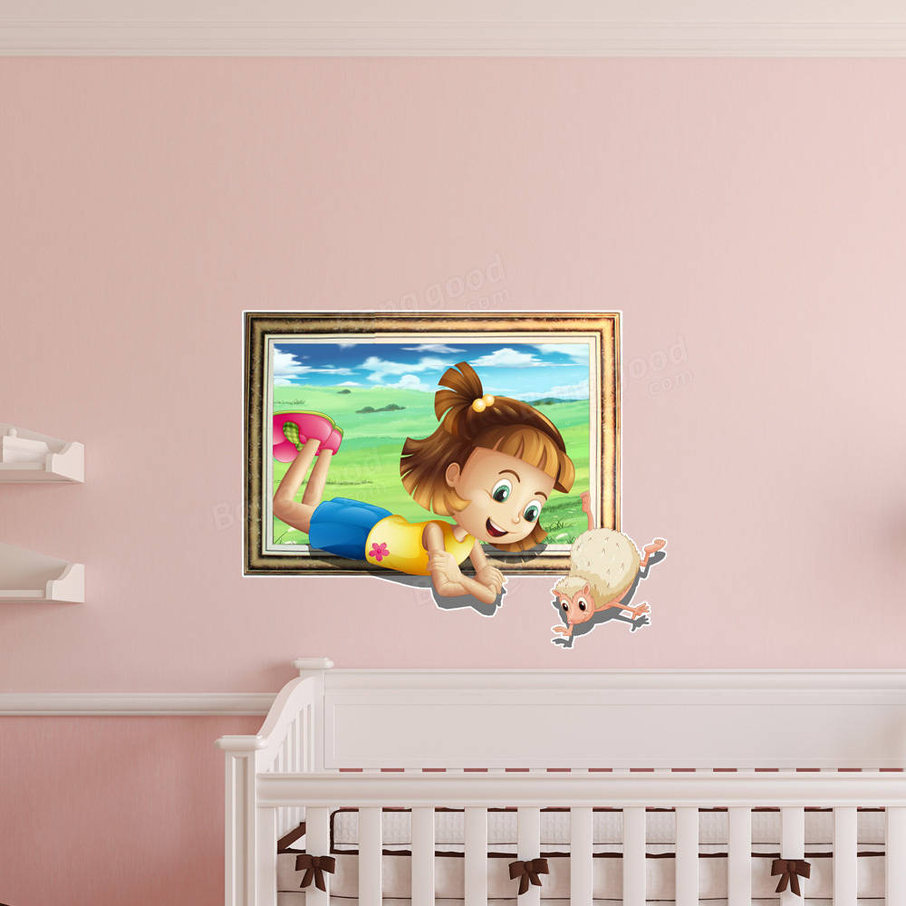 3d Baby Kids Room Cartoon Little Girl Sheep Game Wall
