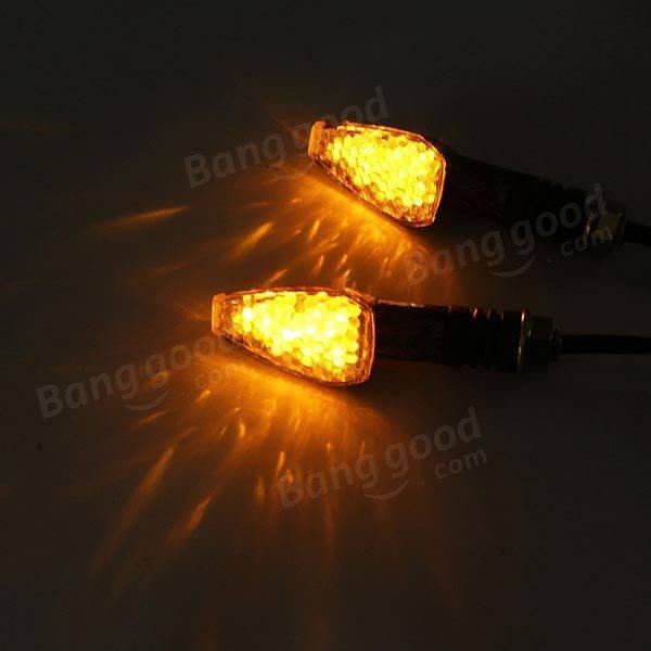 12V Motorcycle Turn LED Amber Light Indicators Carbon Orange