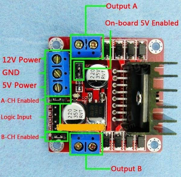 l298n dual h bridge dc stepper motor driver module