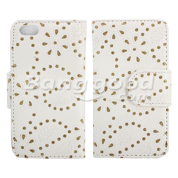 Hollow Blossom Flower Flip Leather Case for Apple iPhone 5