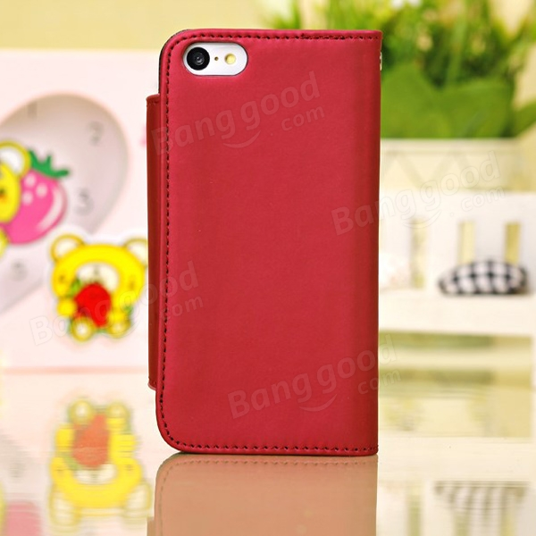 Fashion PU Leather Wallet Protective Case Cover For iPhone 5C