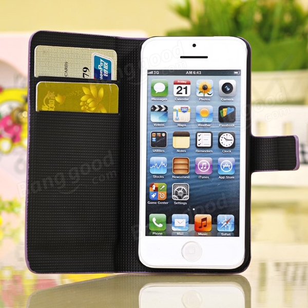 Wiredrawing Flip Stand Wallet Credit Leather Case For iPhone 5C