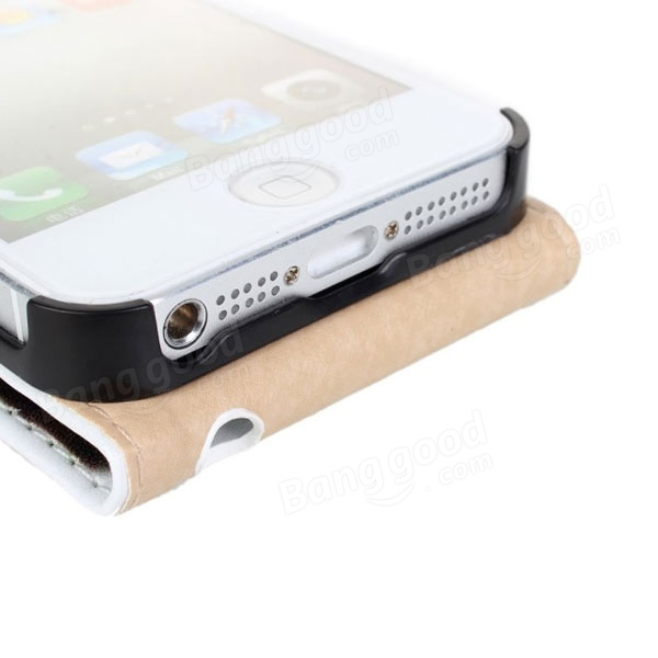 Vertical Genuine Pouch Flip Leather Case Cover For iphone 5 5S