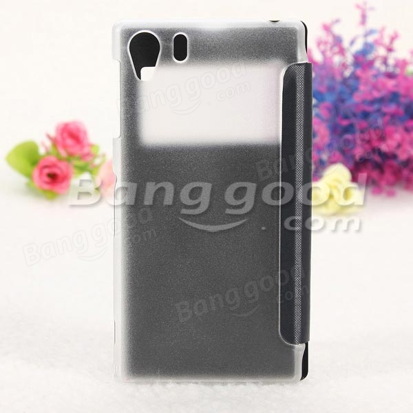 Flip Frosted Window View Clear Back Case For Sony Xperia Z1