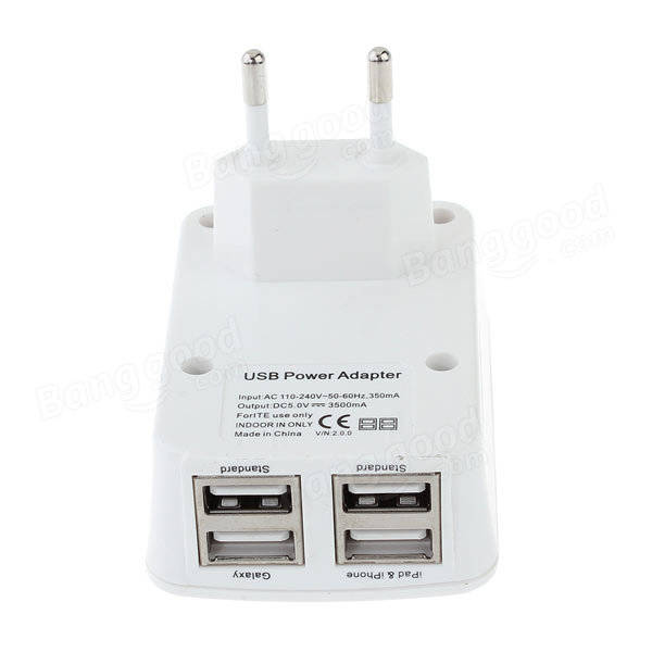 EU Plug 4 USB Ports Charger Adapter For iPhone Smartphone Device