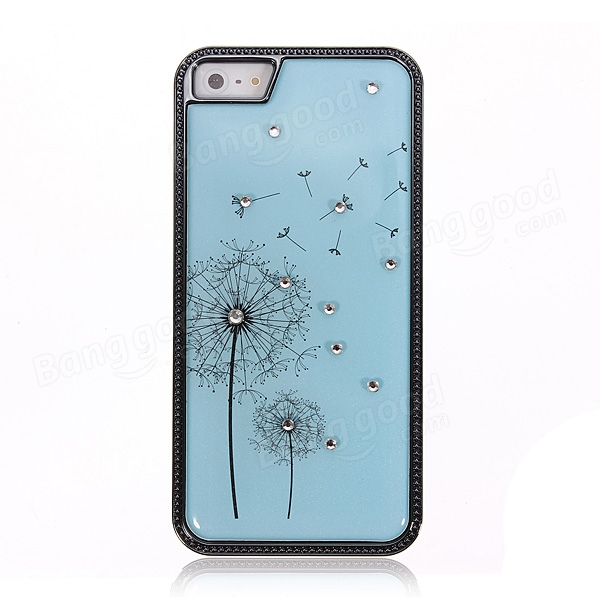 Dandelion Flower Pattern Diamond Hard Back Case For iPhoen 5 5S