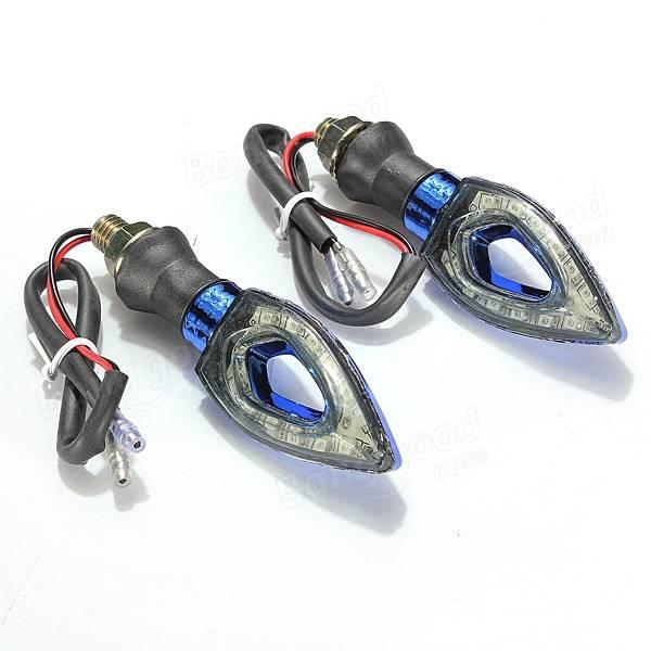 4 X Blue Universal Motorcycle 12 LEDs Turn Light Indicator Lamp