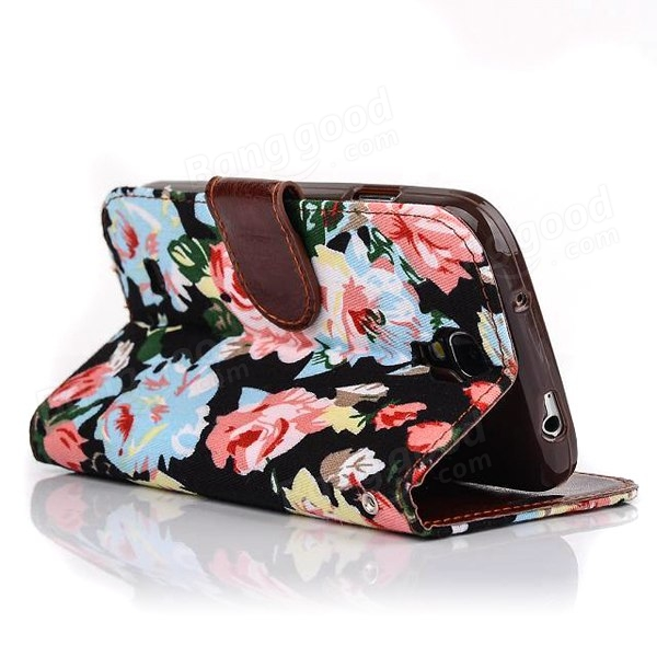 Black Floral Flip Wallet PU Leather Case For Samsung S4 I9500