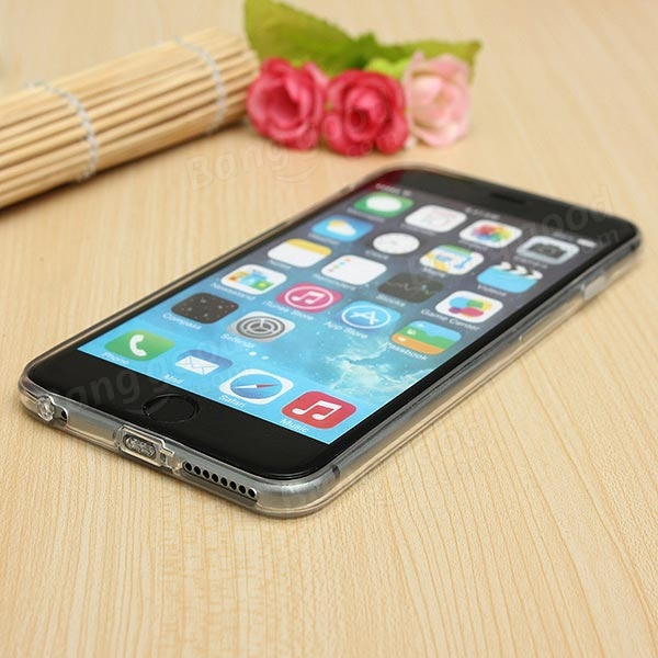 Slim Soft Clear TPU Dust Plug Cover Case For iPhone 6 Plus 5.5