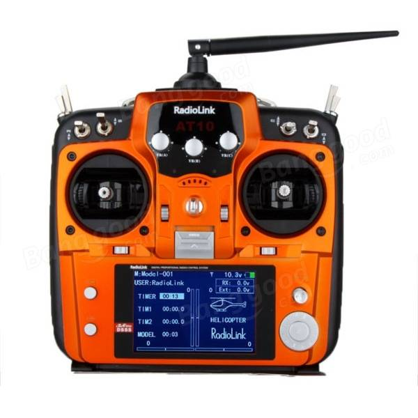 Radiolink AT10 2.4G 10CH Transmitter With R10D Receiver Orange Mode 1