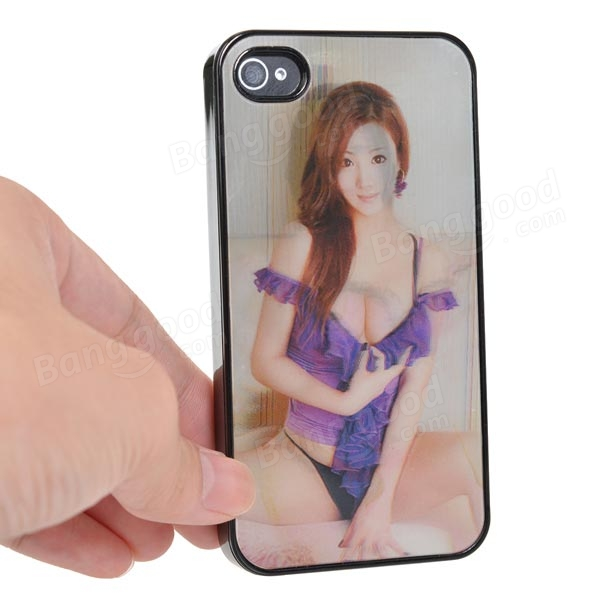 3D Dynamic Sexy Woman Pattern Case Cover For iPhone4 4S