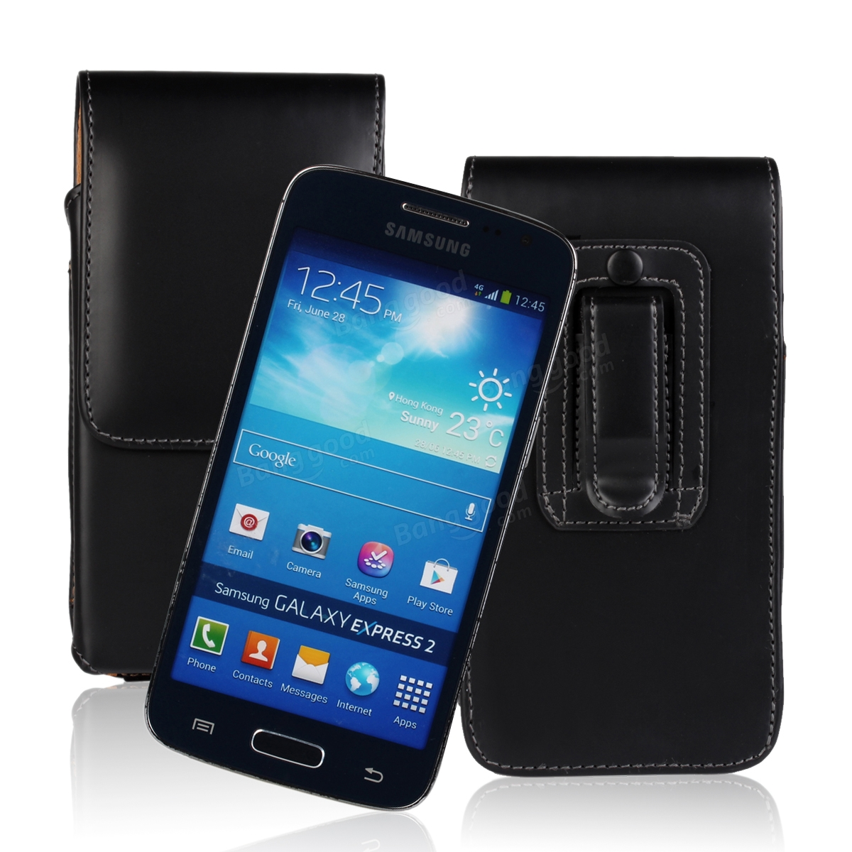 Waist Hanged Open Up And Down Leather Case For Samsung Express 2 G3815