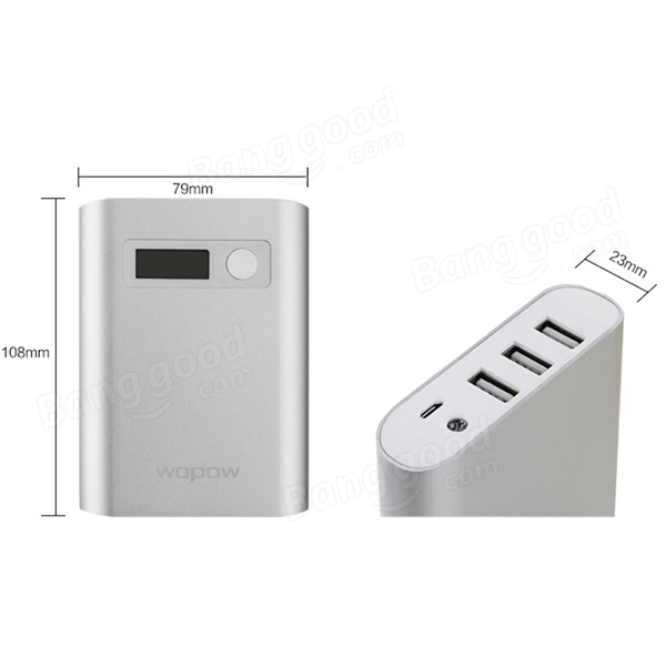 Wopow 10000mAH Three USB External Battery Power Bank With USB Cable