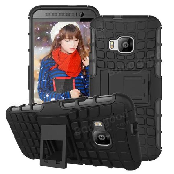 HTC M9のスパイダーパターンのPC +シリコンスタンドハードケースカバー