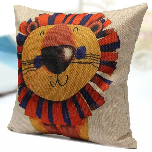 Cute Office Pillow : Cute Cartoon Lion pattern Cotton Linen Home Office Pillow Case at Banggood sold out