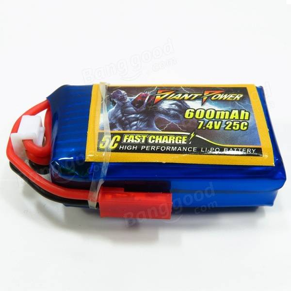 Giant Power 7.4V 2S 600mAh 25C Fast Charge High Performance Lipo Battery