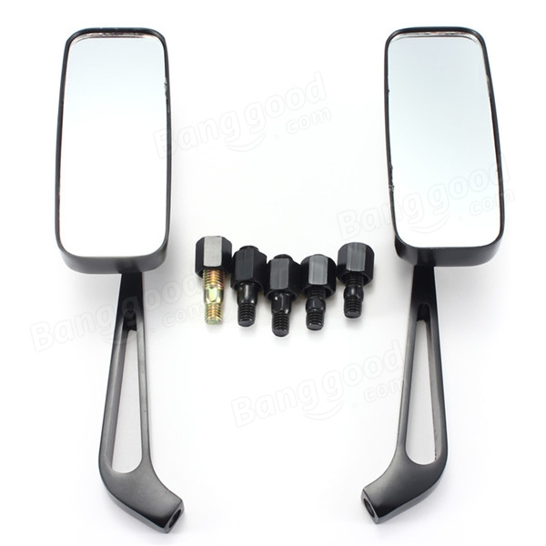 Black CNC 8/10mm Aluminum Motorcycle Cruiser Chopper Rear View Side Mirrors