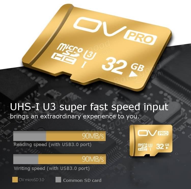 OV UHS-I U3 Micro SD 3.0 Pro 32GB Class 10 TF SDHC Micro SD Card