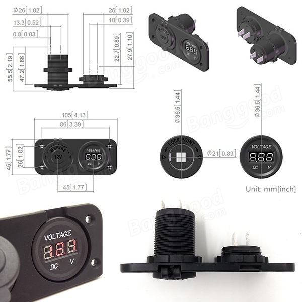 Car Cigarette Lighter Socket Plug Outlet Digital Voltmeter Panel