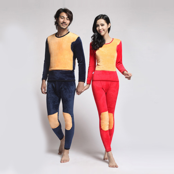 Women Red Golder Thick Double Layer Warm Winter Thermal Underwear Suit
