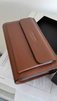 Men Business Clutch Handbag PU Leather Waterproof Cell Phone Bag Wallet