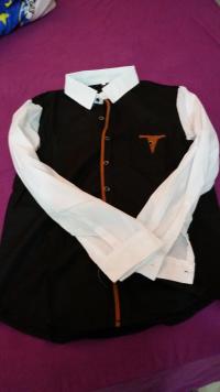 Men Cotton Splice Sleeve Black Dark-gray Long-Sleeved Shirt