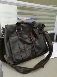 Men Genuine Leather Business  Vintage Handbag 14