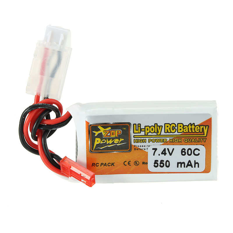 ZOP Power 7.4V 550mAh 70C 2S Lipo Battery JST Plug