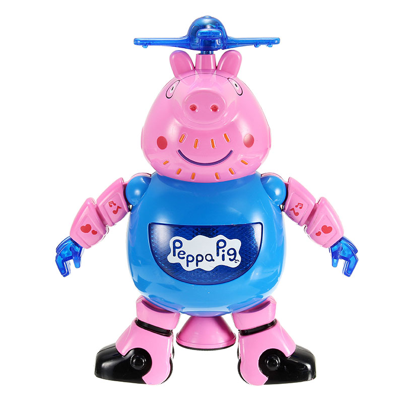 Lezhou Peppa Pig Intelligent Dancing Robot with LED Light Music for Kids Toy