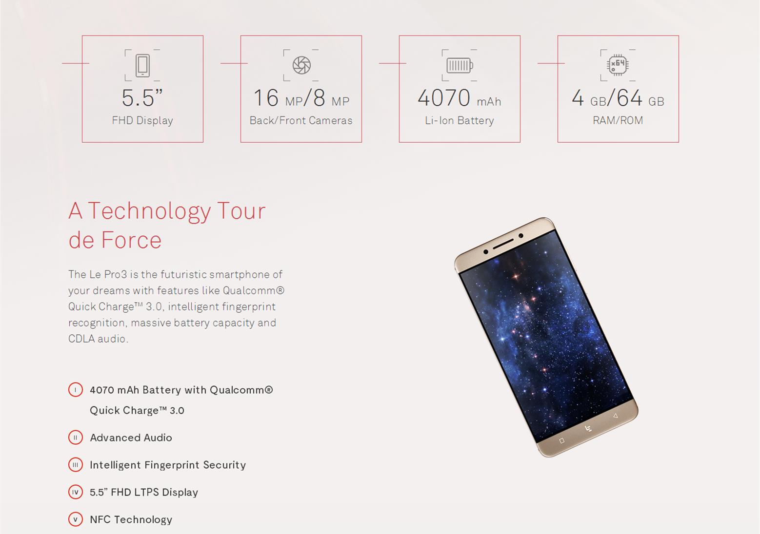 LeTV Leeco Le Pro 3 5.5-inch 2.5D 4GB RAM 64GB ROM Snapdragon 821 2.35 GHz Quad-core 4G Smartphone