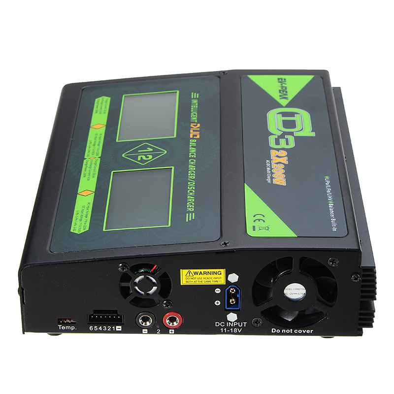 EV-PEAK CD3 2X200W 25A Dual AC/DC 1-6S Lipo Battery Balance Charger Discharger With Touch Screen