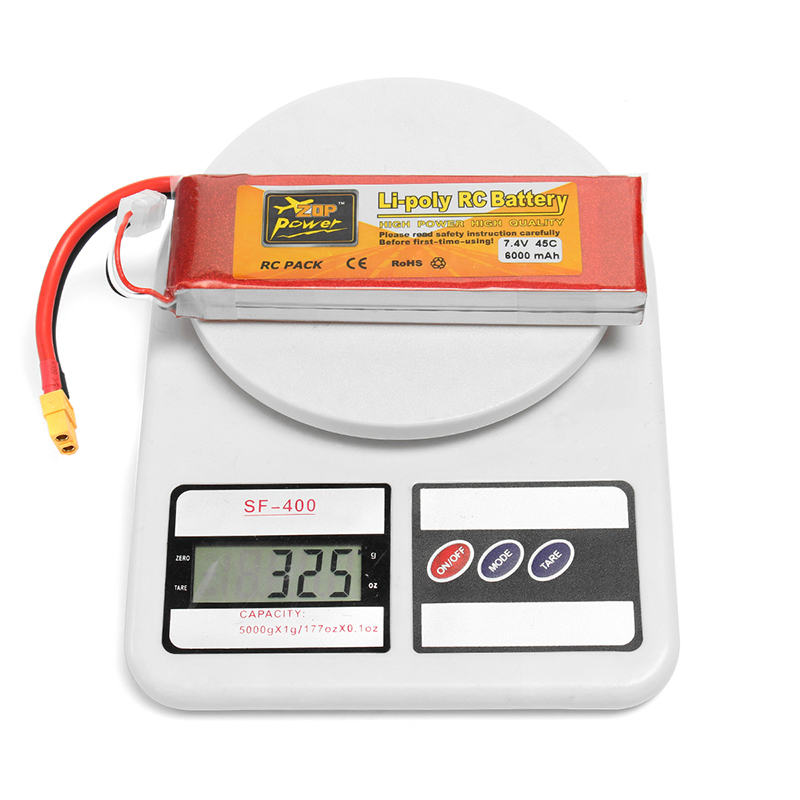 ZOP Power 7.4V 6000mAh 45C 2S Lipo Battery XT60 Plug For Rc Racing Car